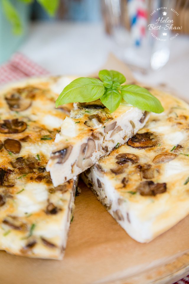 This mushroom frittata with goat cheese is perfect at any time but a great picnic treat