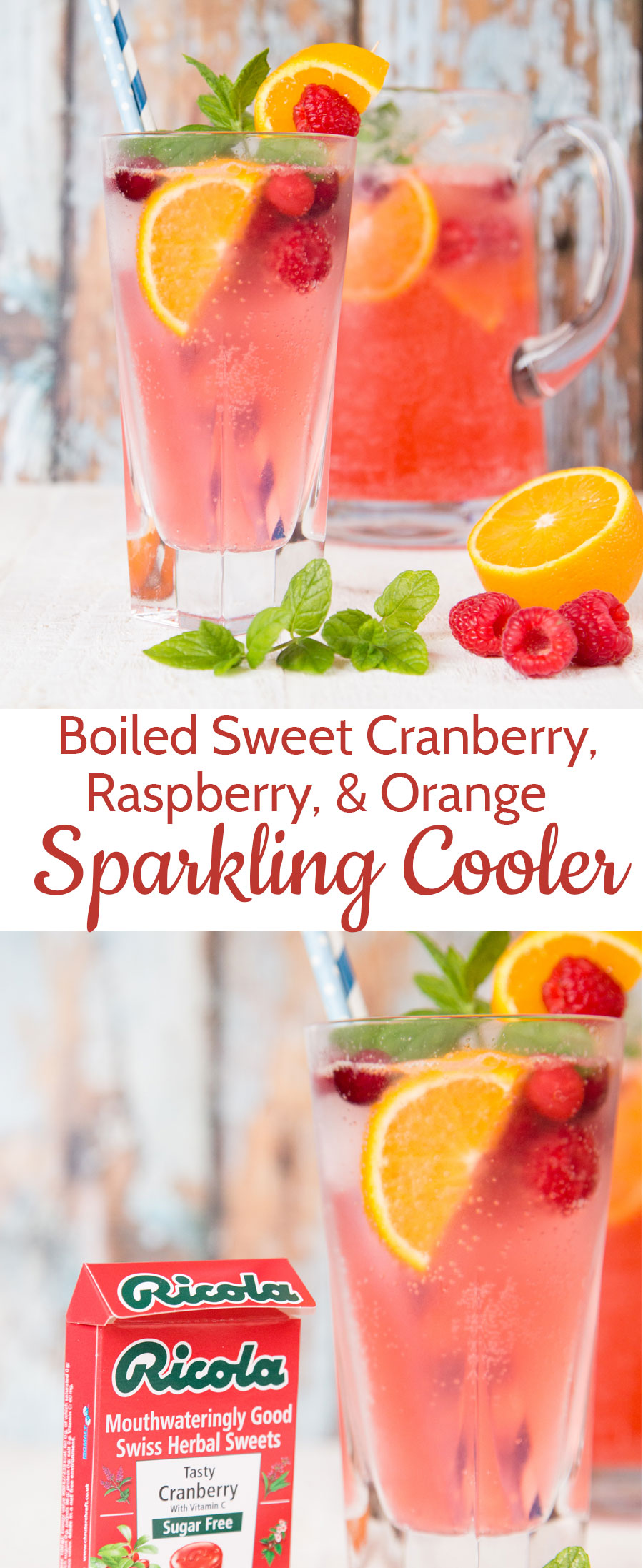 This refreshing herbal cranberry, raspberry and orange mocktail is made with a surprising secret ingredient - Ricola boiled sweets!