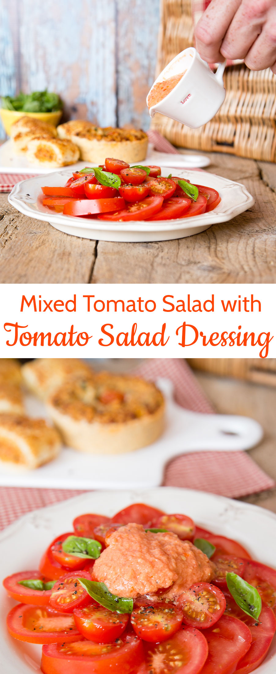This simple salad celebrates different varieties of tomato, has rich and tasty tomato salad dressing and is perfect for lunch on a hot summer day.
