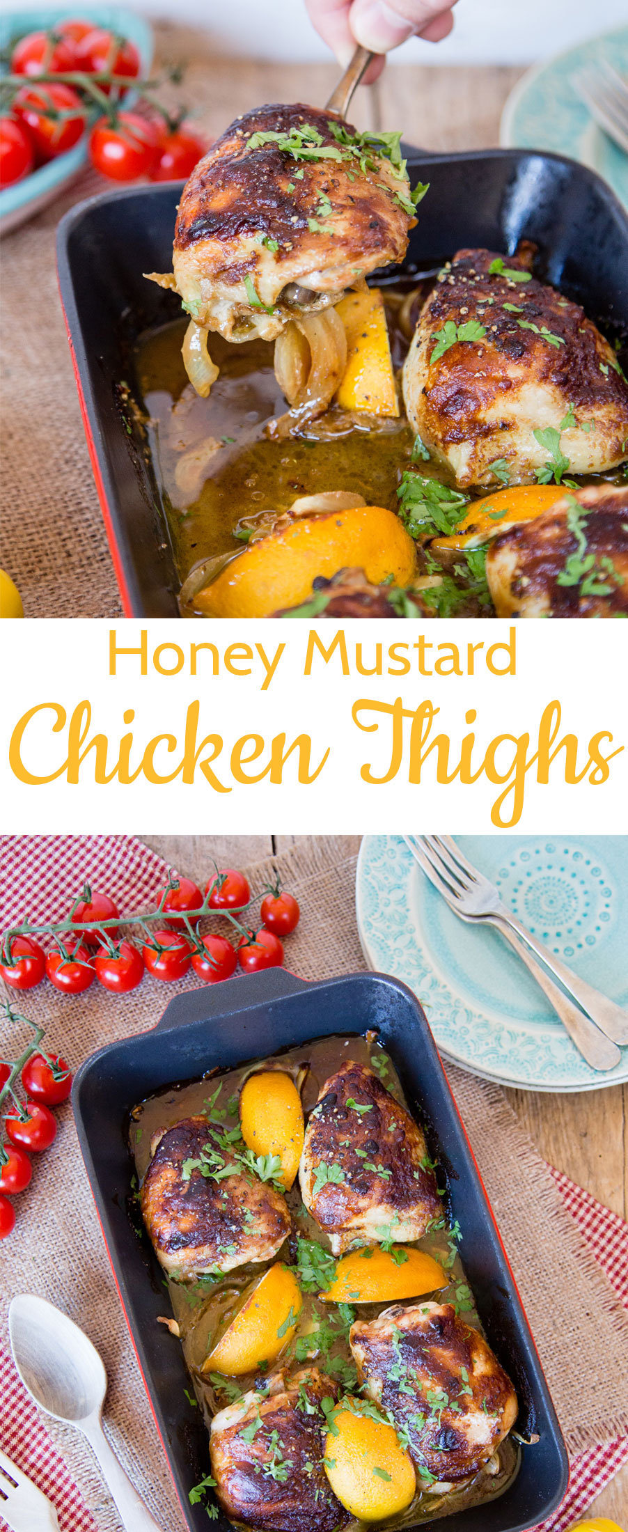 You will love this quick 'n' easy honey mustard chicken tray bake, that makes its own gravy. Simply pop all the ingredients into a roasting pan and bake.