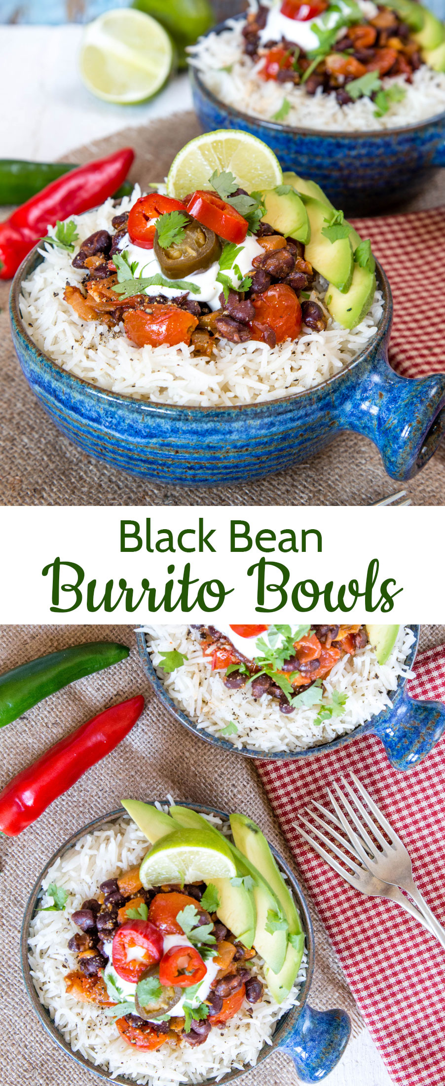 These black bean and tomato burrito bowls have a spicy kick from pickled jalapeños.
