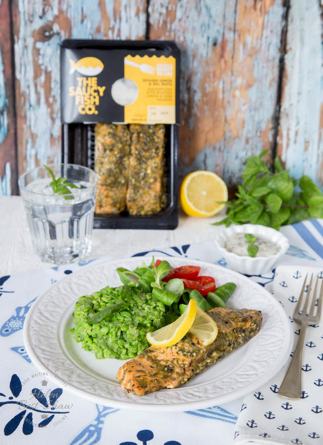 This easy side of smashed cucumber and minted peas is perfect for serving with all types of fish like these sicilian lemon and dill mayo salmon fillets