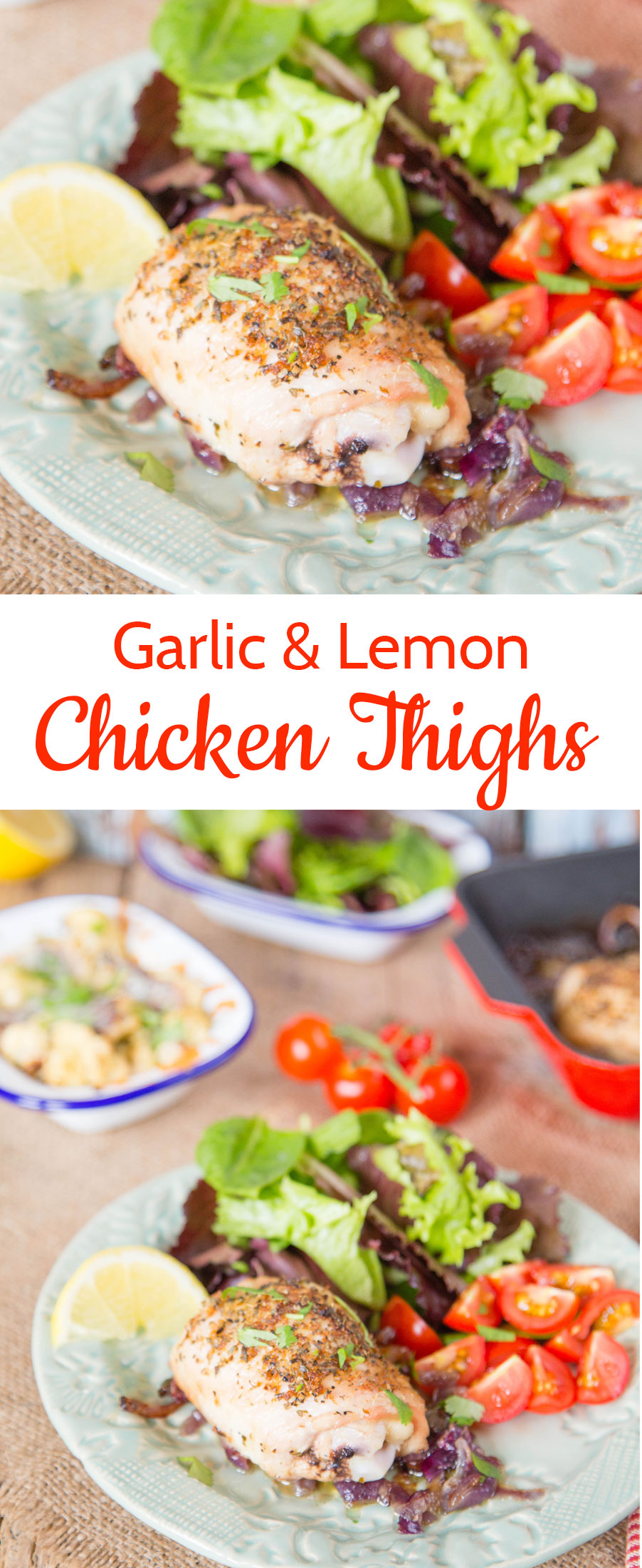 You will love these crispy skin garlic and lemon chicken thighs.  An easy, leave it to cook weeknight supper.