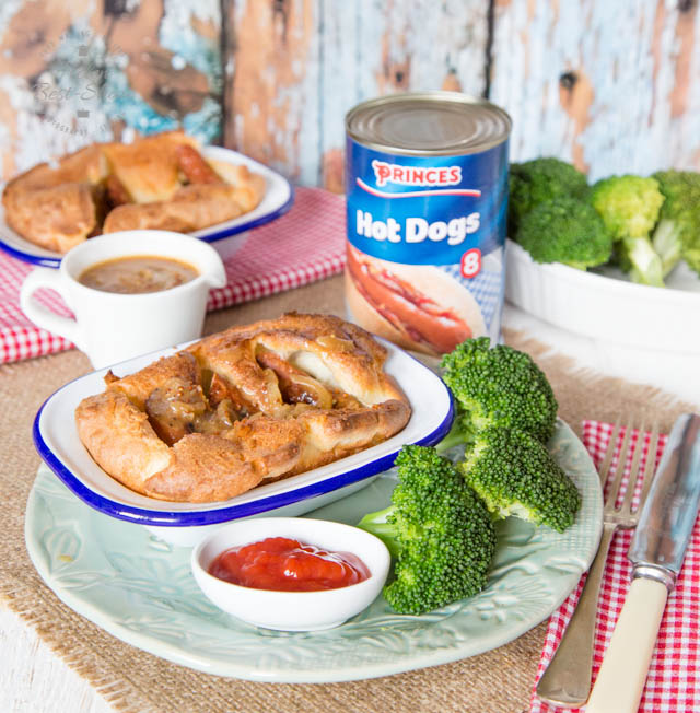 With a twist on the British classic, this toad in the hole uses canned hot dogs rather than sausages. Served with a richly flavoured onion gravy it is perfect comfort food.