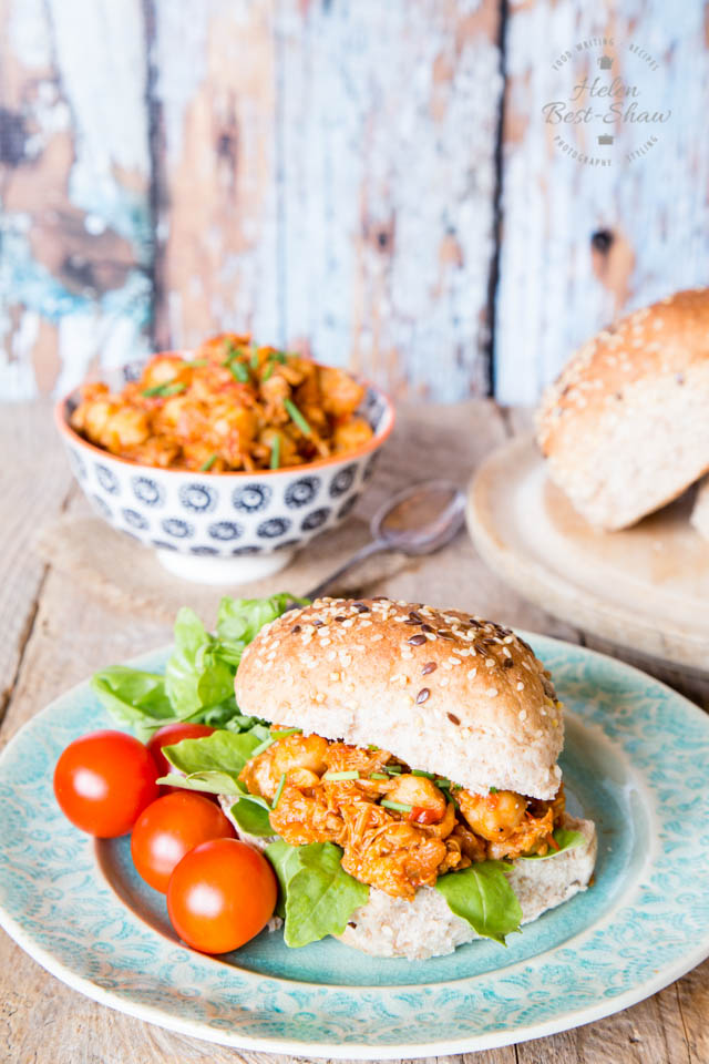 Enjoy these pulled chicken and chickpea sloppy joes as a healthy change from beef.