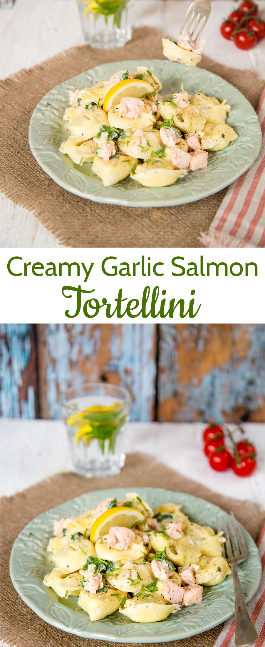 This tortellini with salmon in a cream garlic sauce, is big on taste but low on effort, uses a number of cheat ingredients and takes less than 10 minutes to cook.