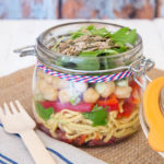 Noodle packed lunch salad in a jar