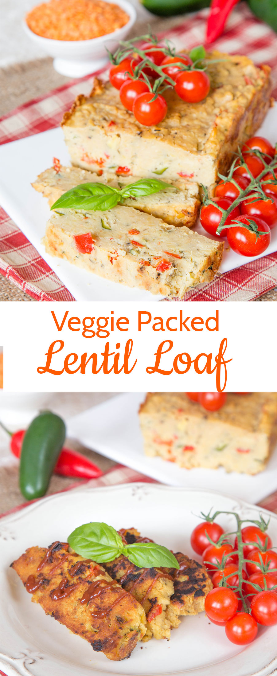 This vegetable packed red lentil loaf is tasty, adaptable and frugal