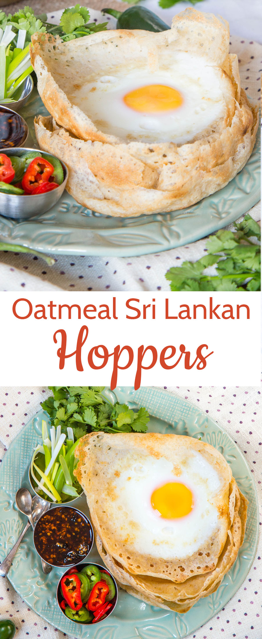 These hoppers - Sri Lankan pancakes, cooked in a bowl shaped pan with an egg - are a great breakfast or brunch dish, especially when made with oat flour, as we have here