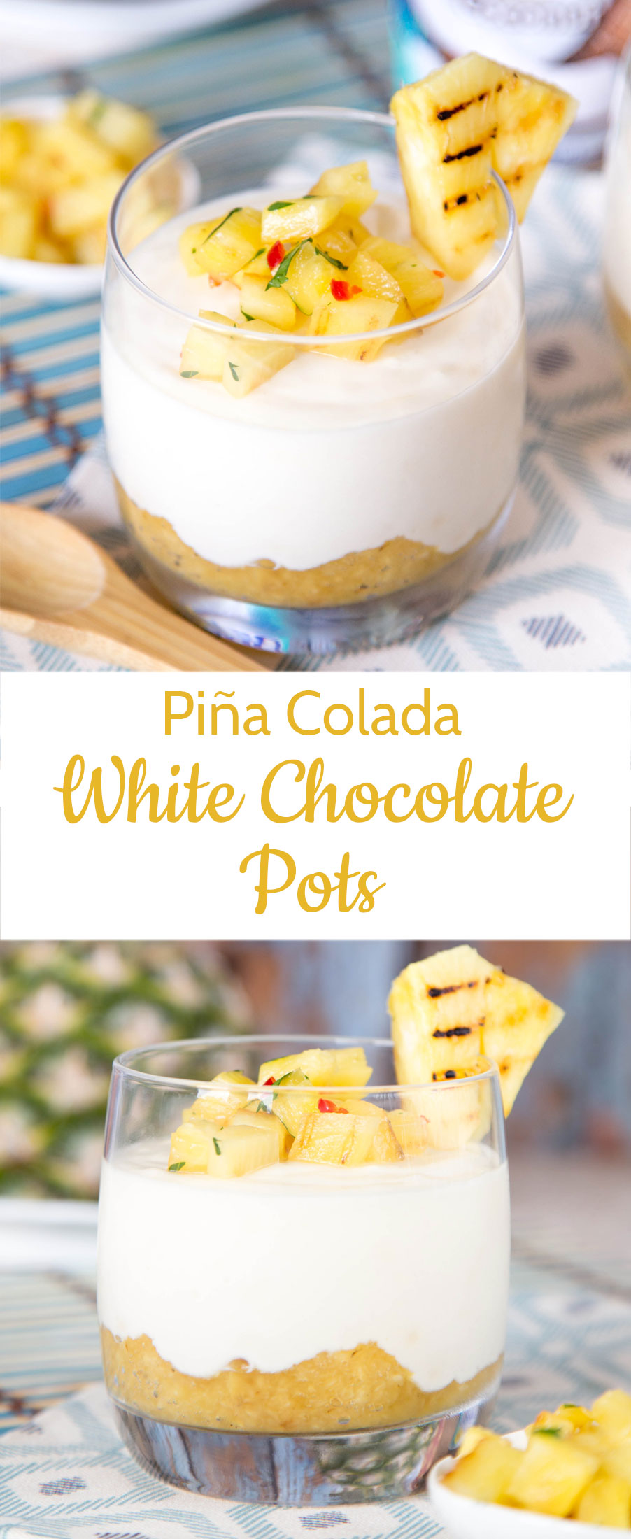 These creamy white chocolate piña colada yogurt puddings topped with pineapple salsa are lighter than chocolate pots, and will brighten the mood, whatever the weather