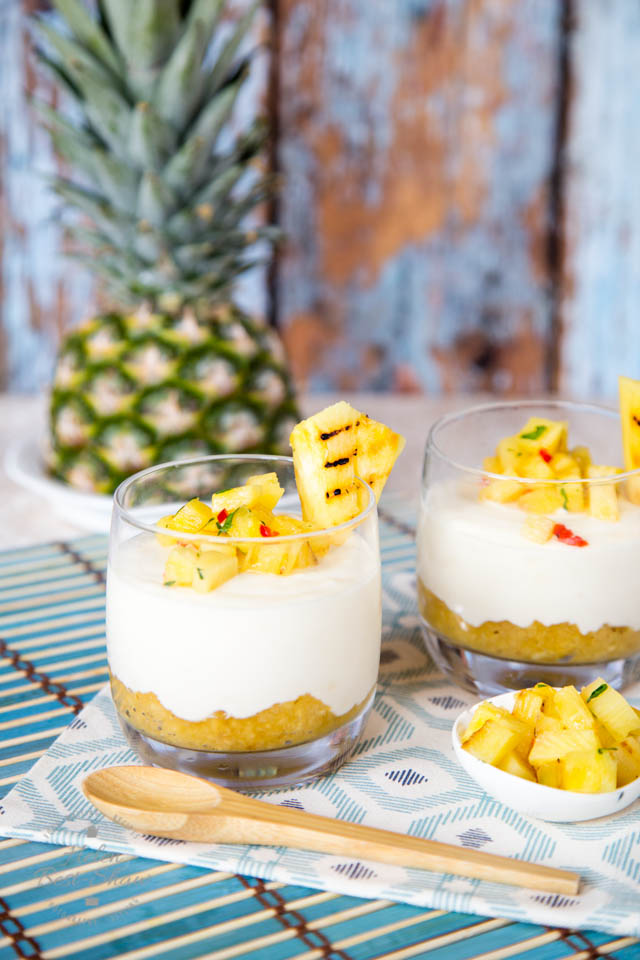 These creamy white chocolate piña colada yogurt puddings are lighter than chocolate pots, and will brighten the mood, whatever the weather.