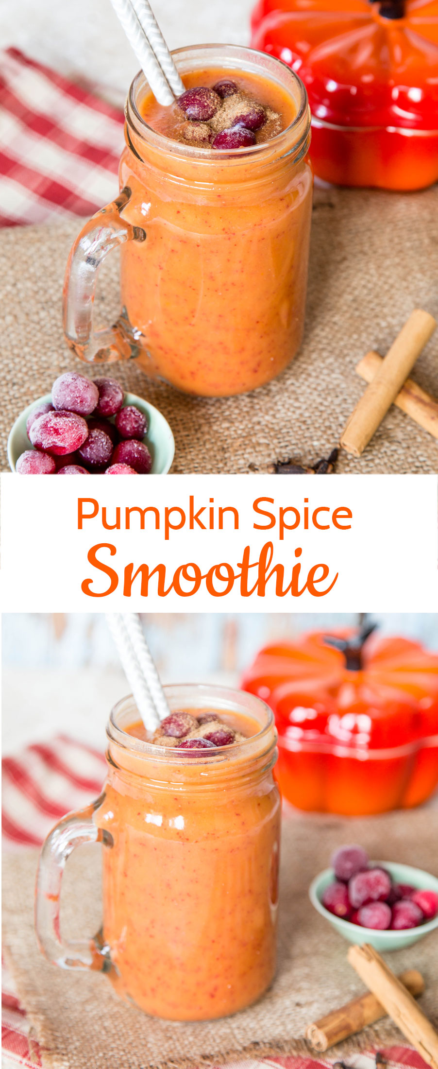 This brilliantly coloured autumnal smoothie with the secret ingredient of spiced pumpkin is perfect for fall.