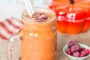 Pumpkin spice smoothie with cranberries; perfect for fall