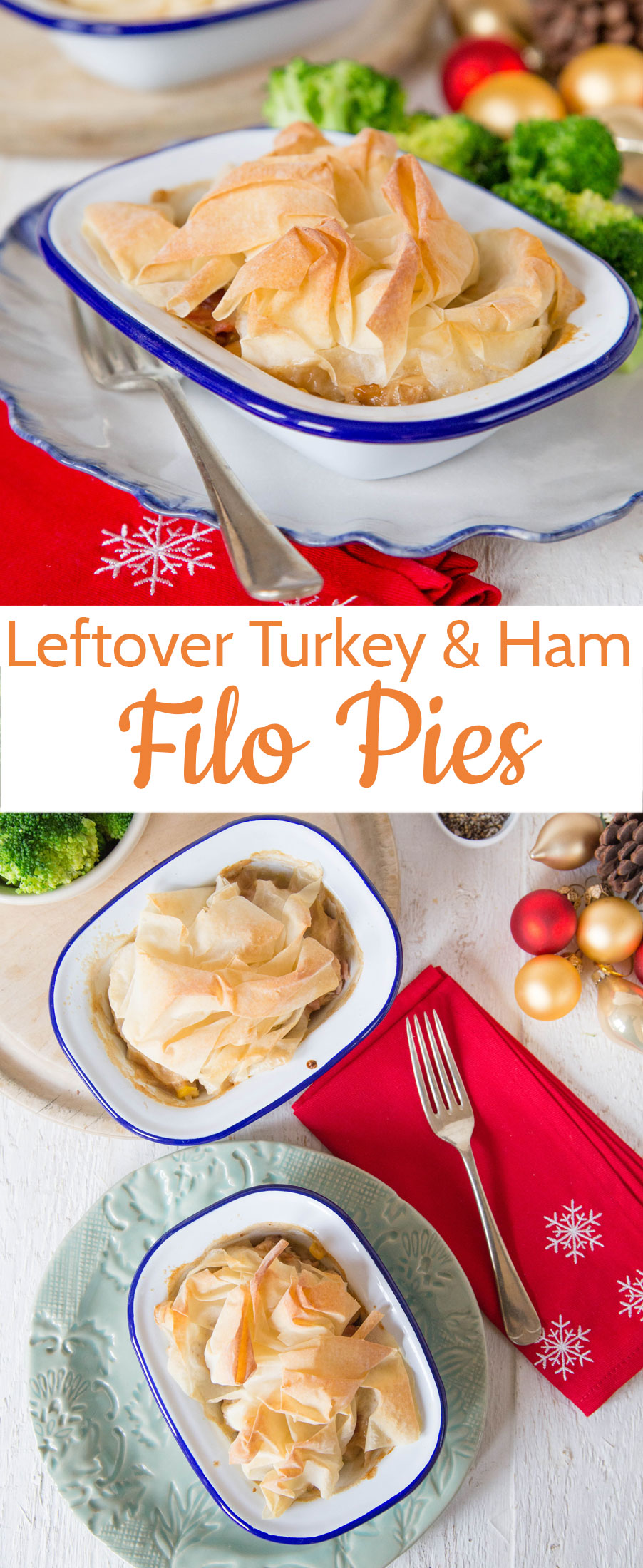 An easy recipe to use up leftover Christmas or Thanksgiving Turkey.  Topped with a single sheet of foil pastry for texture these pies are lighter than a traditional pastry covered pie