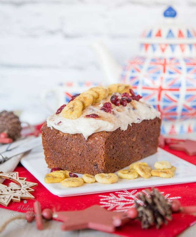 This banana & mincemeat loaf cake has no added fat, and is topped with a cinnamon & cranberry cream cheese frosting