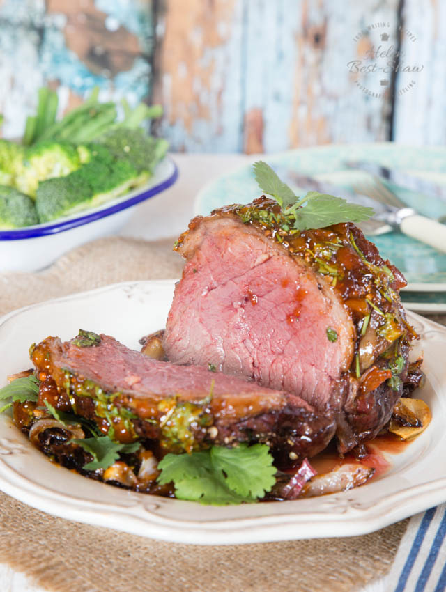 This mini roast is glazed with coriander and chutney and is perfect for mid week dining.