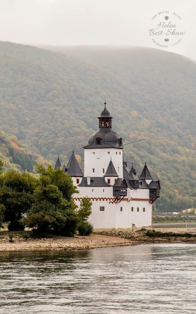 The Middle Rhine, or Rhine gorge was formed by downwards erosion of the river. With its dense mysterious forested banks and cliff top castles it is the stuff of Wagnerian legend, and easy to imagine the Rhinemaidens playing in the water, and singing as they guard their gold