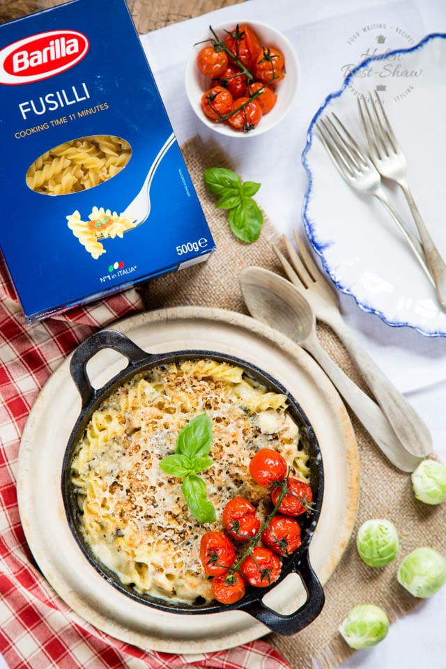 Pasta bakes are the ultimate comfort food, this one uses leftover turkey, with bacon, sprouts and Stilton - prepare ahead and reheat in the oven before supper.