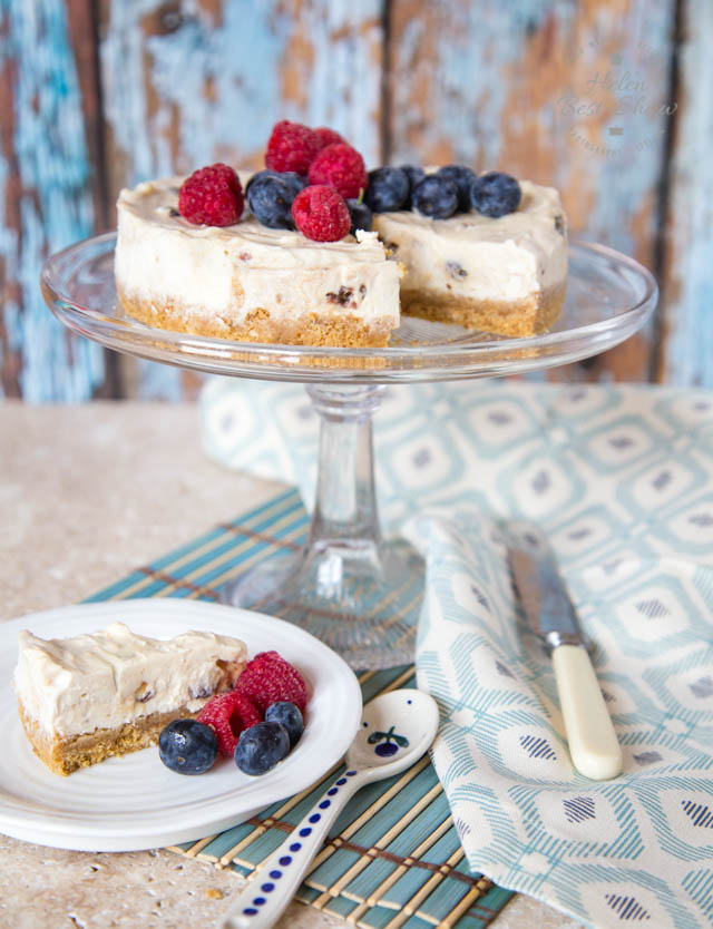 This easy to make no bake mincemeat cheese cake is lightened with yogurt in place of some of the cream