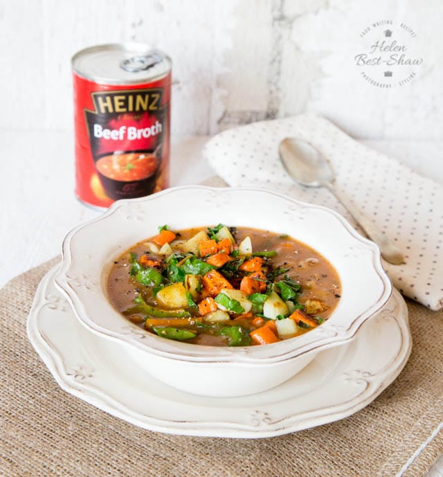 Canned beef broth, perked up with leftover roasted vegetables
