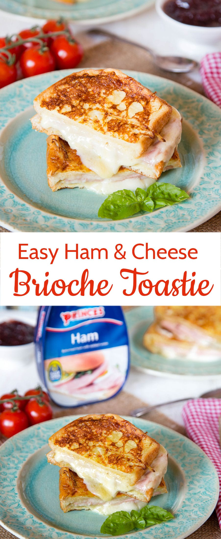 Lift a run of the mill ham and cheese sandwich with this easy ham cheese toastie or Croque Monsieur, combining brioche eggy bread, stringy mozzarella cheese and versatile Princes canned ham.