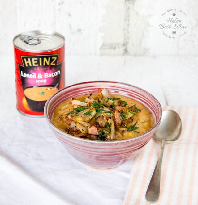 Canned lentil and bacon soup with sticky onions and bacon