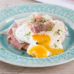 A lovely runny egg yolk on a delicious Italian eggs Benedict, made with Grana Padano & Proscuitto di San Daniele
