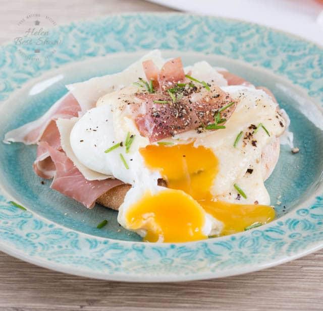 A lovely runny egg yolk on a delicious Italian eggs Benedict, made with Grana Padano & Prosciutto di San Daniele
