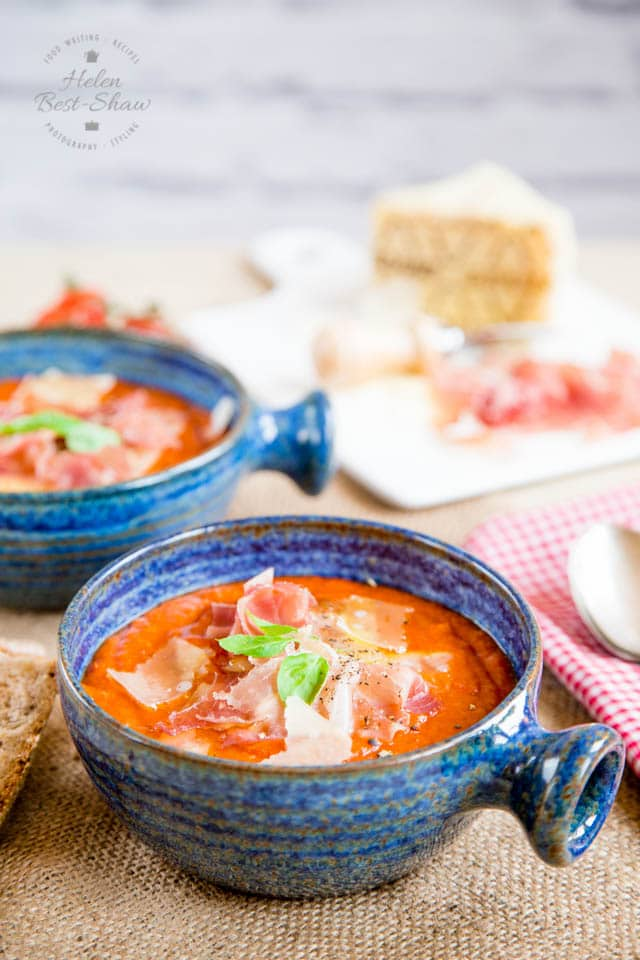 Pappa al pomodoro is a classic Tuscan tomato soup which uses up stale bread. Frugal, tasty peasant food at its very best. Adding some Grana Padano & Prosciutto di San Daniele makes it a dish worthy of a dinner party.