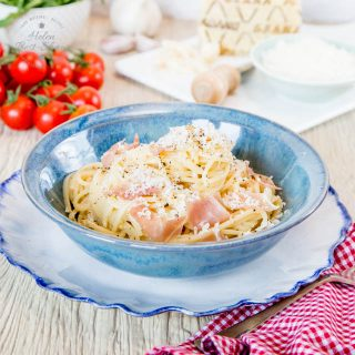 This easy twist on the everyday Italian classic of Spaghetti Carbonara is served with a generous sprinkling of Grana Padano and a scattering of Prosciutto di San Daniele