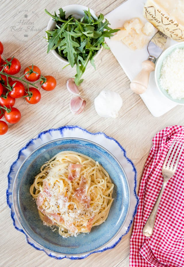 This easy twist on the Italian classic of Spaghetti Carbonara is served with a generous sprinkling of Grana Padano and a scattering of Prosciutto di San Daniele