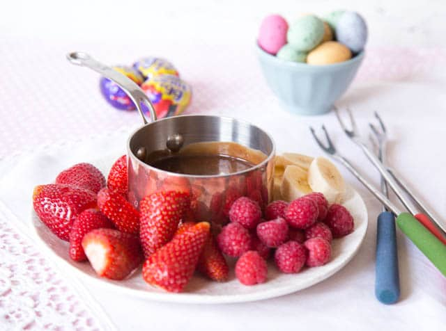 A delicious creme egg recipe: chocolate fondue. Perfect for Easter.