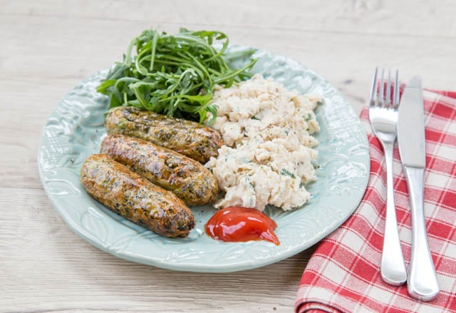 Goodlife's French Bean & Spinach Sausages with Wensleydale Cheese