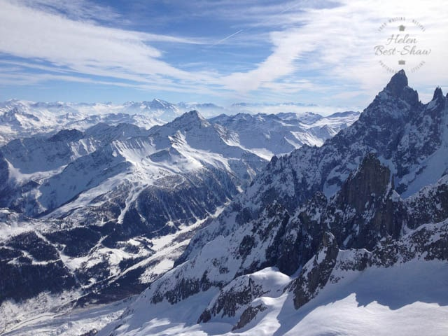 The Courmayeur ski area from the Mont Blanc Skyway