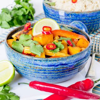 Easy Vegan Red Thai Curry with Roasted Butternut Squash & Chickpeas