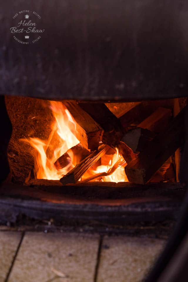 The pots are heated by wood fire