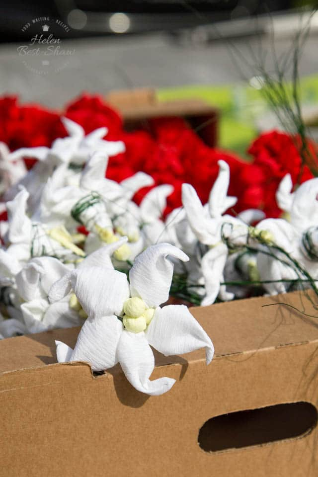 Paper flowers to decorate the cows with when they return to the valley