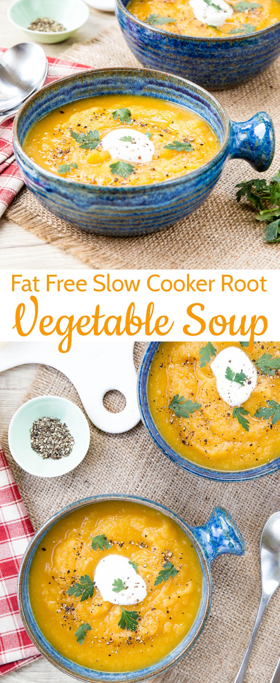 This no fat slow cooker vegetable soup is hearty, delicious and so simple to make. The slow cooked root vegetables are meltingly soft, and almost sweet