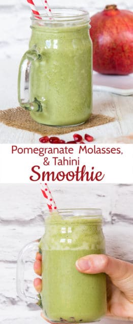 This tart green smoothie is made with pomegranate molasses for sweetness and kale for a healthy boost as well as a dollop of tahini