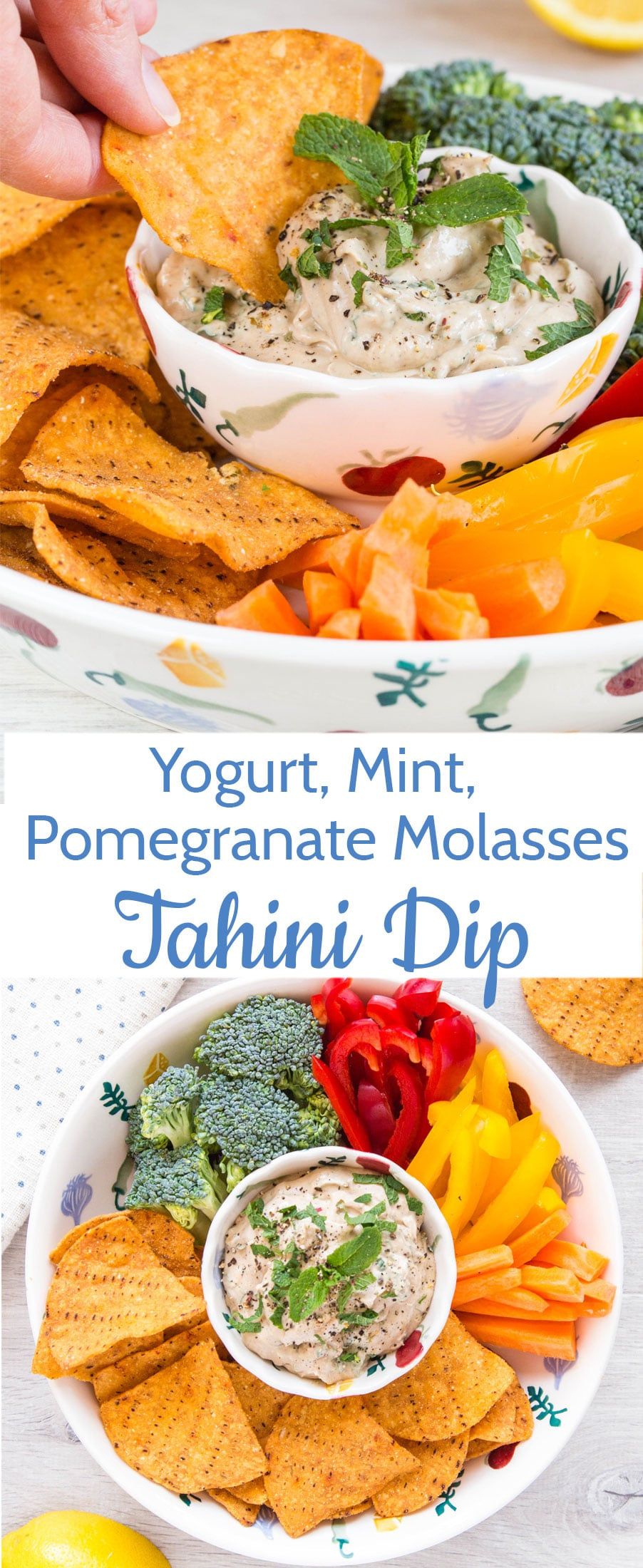 A deliciously easy Middle Eastern inspired yogurt tahini dip packed with fresh mint