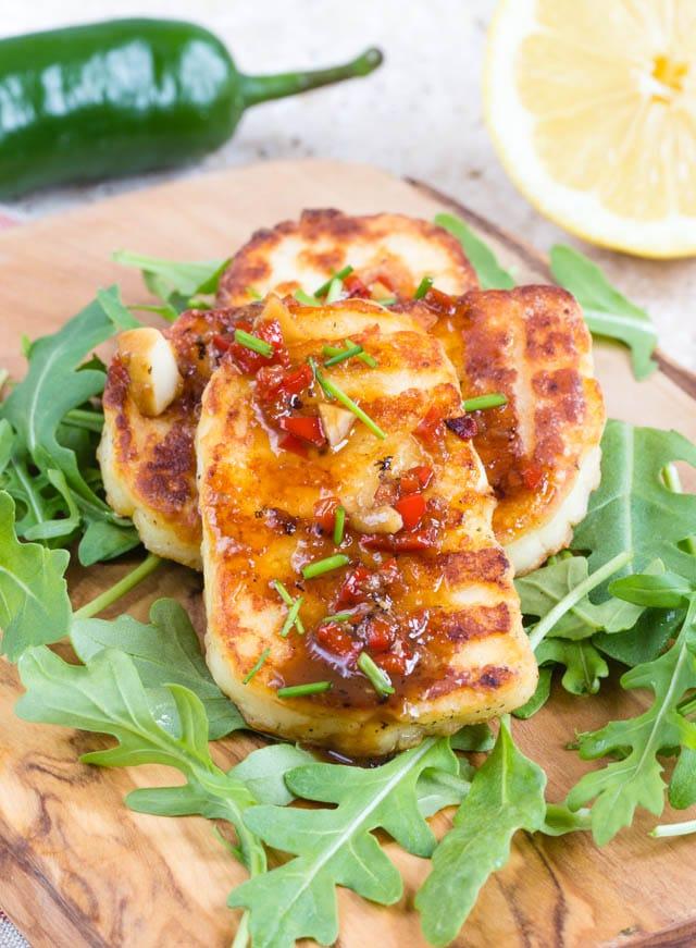 Crispy fried marinated halloumi