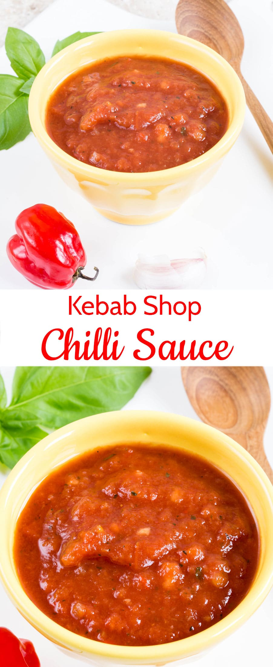Kebab shop chilli sauce in a yellow bowl with a bright red pepper beside it and a close up of chili sauce in a red bowl with a text overlay