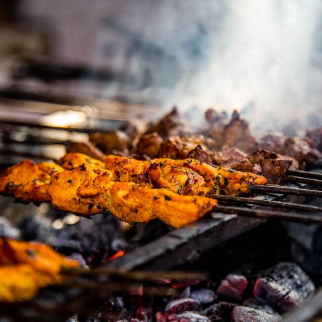 Kebabs cooking in Jemaa el-Fnaa Marrakech