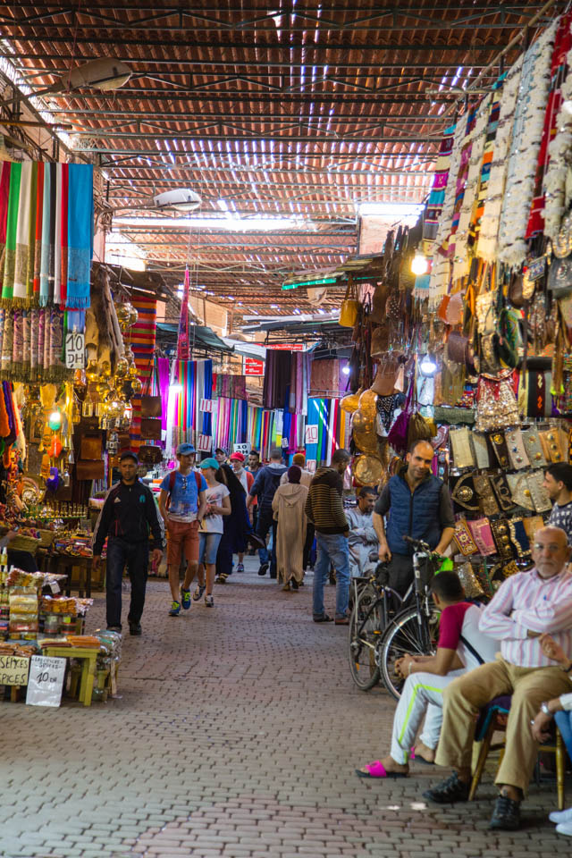 Busy souks in Marrakech