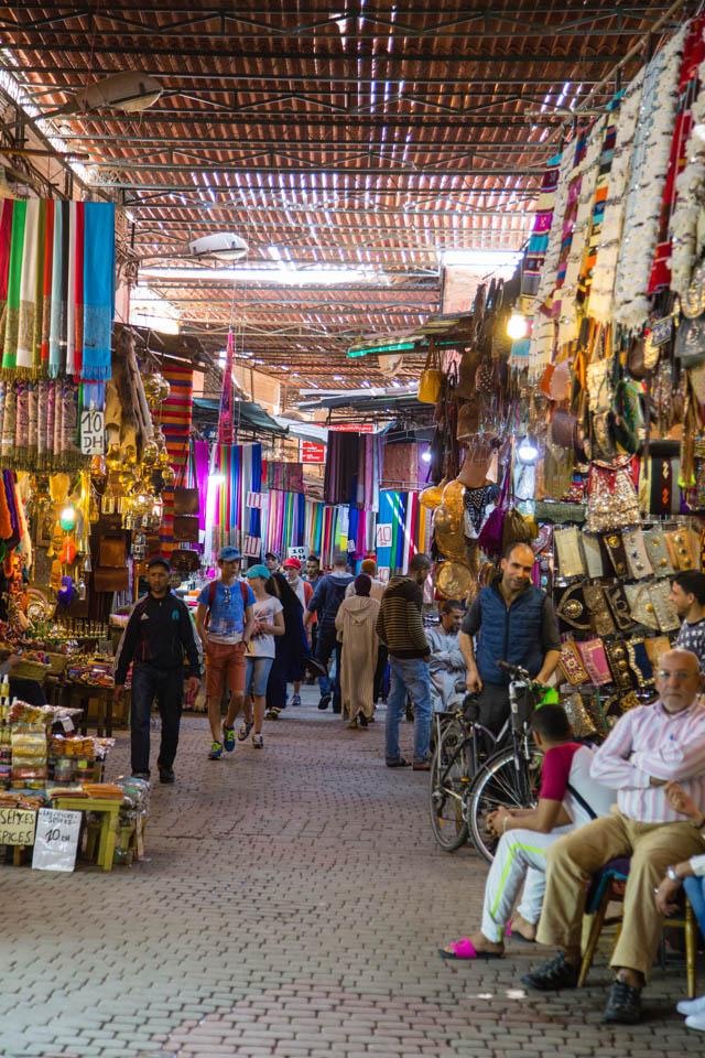 Busy souks in Marrakech
