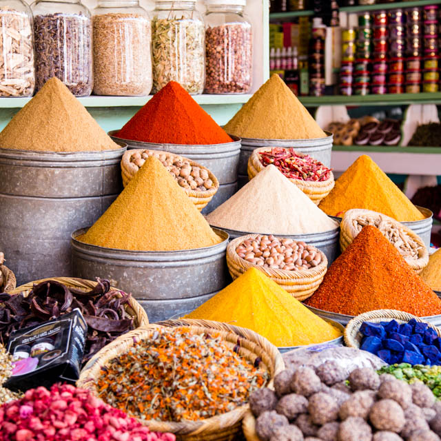Spices for sale in the souks of Marrakech