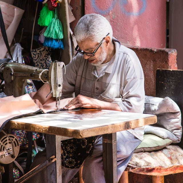 Craftsman working in the souks of Marrakech