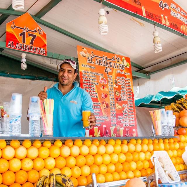 Orange juice seller in Jemaa el-Fnaa Marrakech