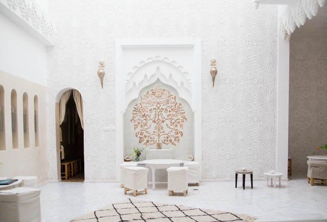 Carved plaster wall in the Riad Star Marrakech