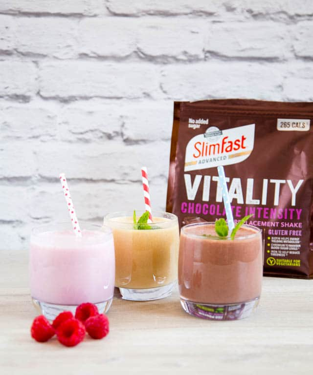 SlimFast Vitality meal replacement shakes in three flavours: Raspberry Crush, Chocolate Intensity, and Salted Caramel Infusion